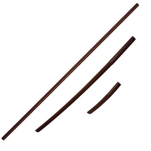 Wapenset Aikido, eikenhout, Bokken, Jo, Tanto